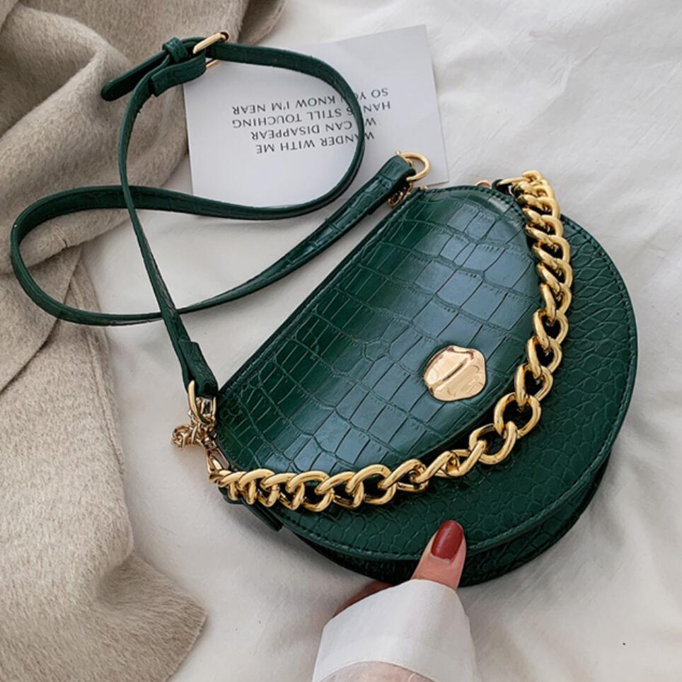 Luxury Brand Crocodile Pattern Saddle Bag 2019 New Quality PU Leather Women's Designer Handbag Chain Tote Shoulder Messenger Bag