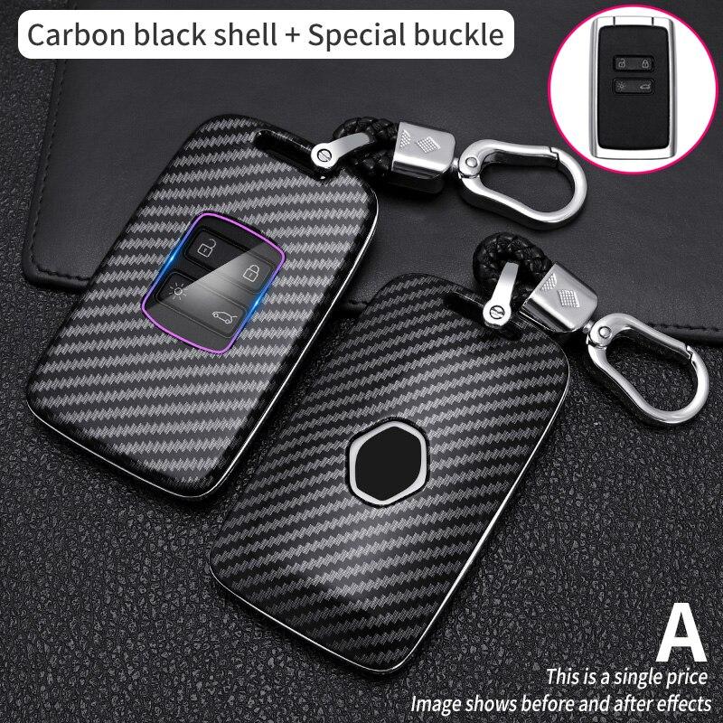 ABS Carbon Fiber Car Key Case Cover For Renault Kadjar Megane QM5 QM6 Sandero Koleos Remote Key Protector Shell Fob Accessories