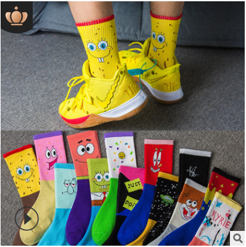 Fashion Korean Spring And Summer New Combed Cotton Deodorant Socks Couple Funny Funny Happy Socks Slippers.