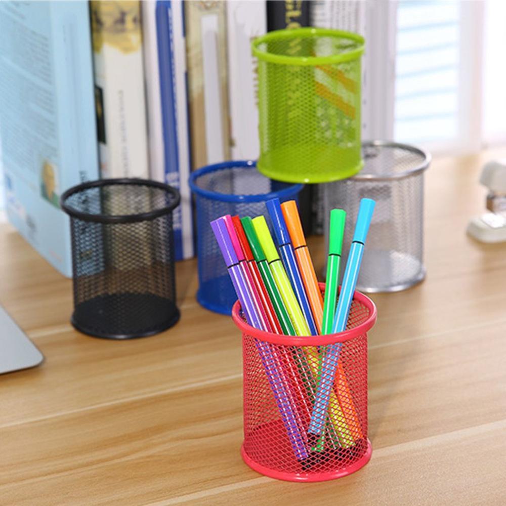 Office Student Pen Iron Square Multi-Function Round Pen Box Desktop Stationery Storage Grid Pen Holder