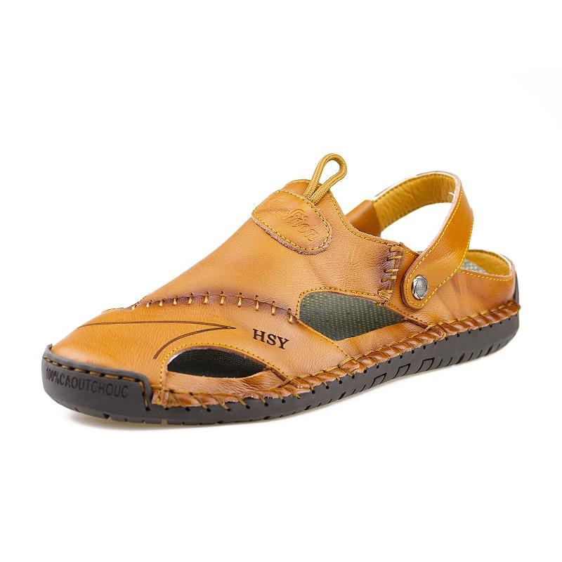 Hot sale Genuine Leather Summer Men Sandals Soft Shoes Beach Roman Men Sandals High Quality Sandals Slippers Big Size 38-48 w4
