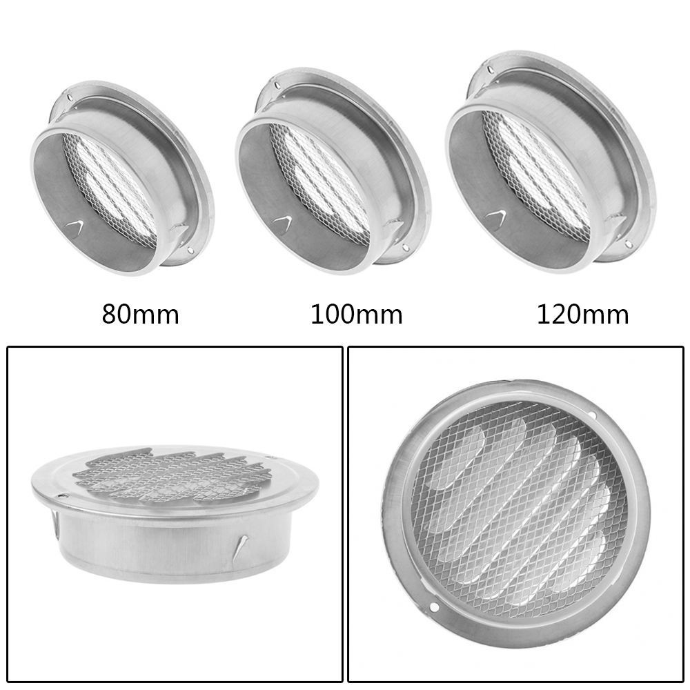 Stainless Steel Exterior Wall Air Vent Grille Round Ducting Ventilation Grilles Stainless Steel Hood Cover
