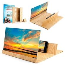 Screen Amplifier 3D Phone Screen Amplificateur amplificador pantalla telefono Wood Screen Enlarge Magnifier with Folding Holder