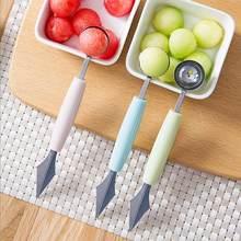 Cuchillo de acero inoxidable de doble cabeza 2 en 1 para tallar fruta, sandía, helado, cuchara, cuchara, accesorios de cocina para el hogar