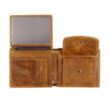 Classic Retro Men's Wallet RFID Blocking Crazy Horse Genuine Leather Wallet Men Business Card Holder Man Wallet Bag Purse Male
