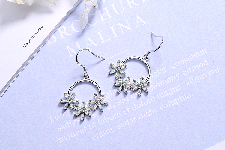 ANENJERY Literary Ice Zircon Flower Wreath 925 Sterling Silver Earrings For Women Two Colors S-E925 10