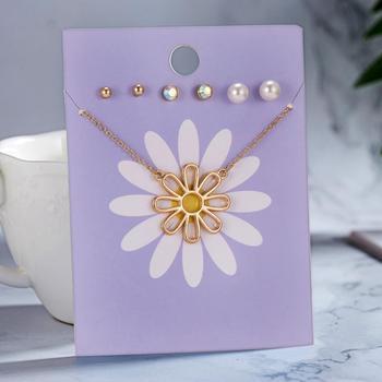 Nuevo diseño 4 unids/set Corazón Arco Iris collar de flores conjunto de pendientes de joyería perla rhinestone pendientes amor amistad regalos
