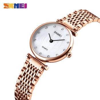 SKMEI Japan Quartz Movement Women Top Brand Luxury Stainless Steel Rose Gold Waterproof Ladies Watch Female Clock Dropshipping
