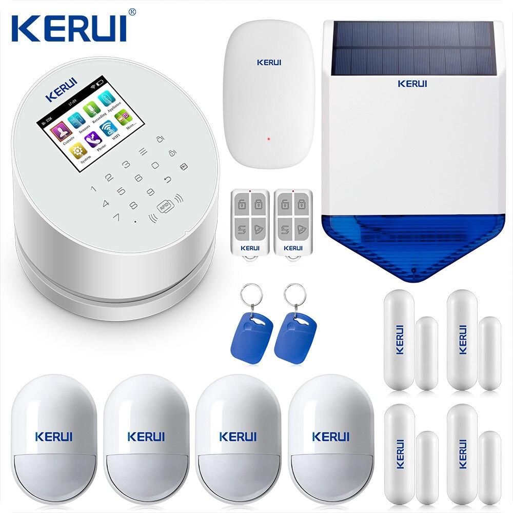 KERUI W2 Wifi GSM PSTN Telefon Home Festnetz Alarm APP ISO 433MHz TFT Bildschirm RFID Entwaffnen Arm Signal Repeater solar Sirene