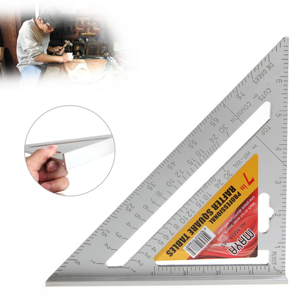 Aluminium Alloy Triangle Ruler Can Be OEM 7-Inch Top Grade Woodworking Triangle Ruler Angle Ruler Black Angle Rule