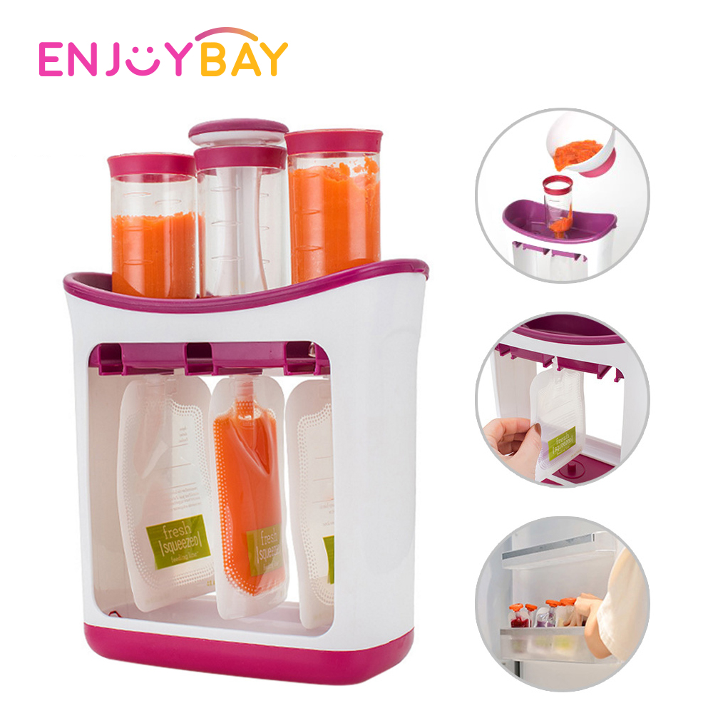 Squeeze Fruit Juice Station And Pouches Feeding Kit Baby Food Maker Set Squeeze Food Station Storage Container Bags Spoons Set