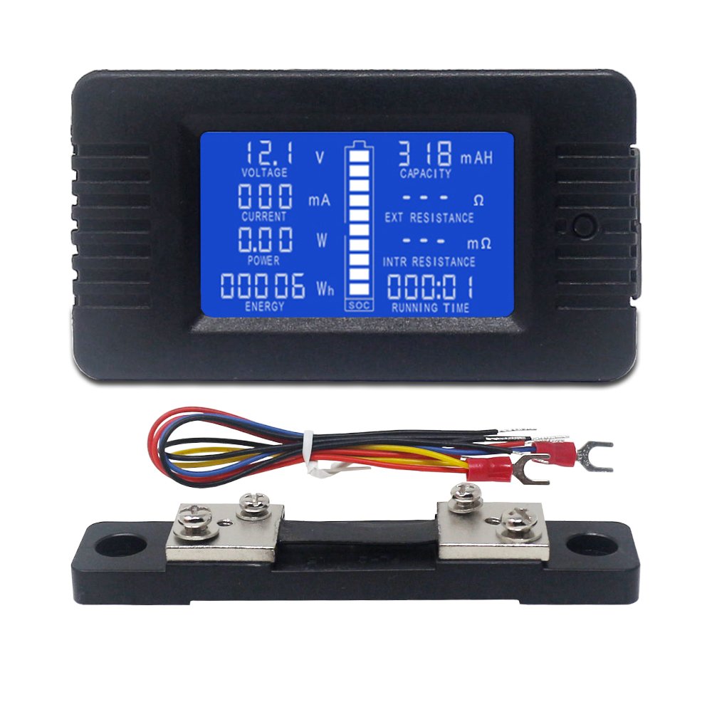 Вольтметр-амперметр постоянного тока, цифровой измеритель напряжения и тока с ЖК-дисплеем, 60-200 В постоянного тока, 10 А/50 а/А/а, шунт