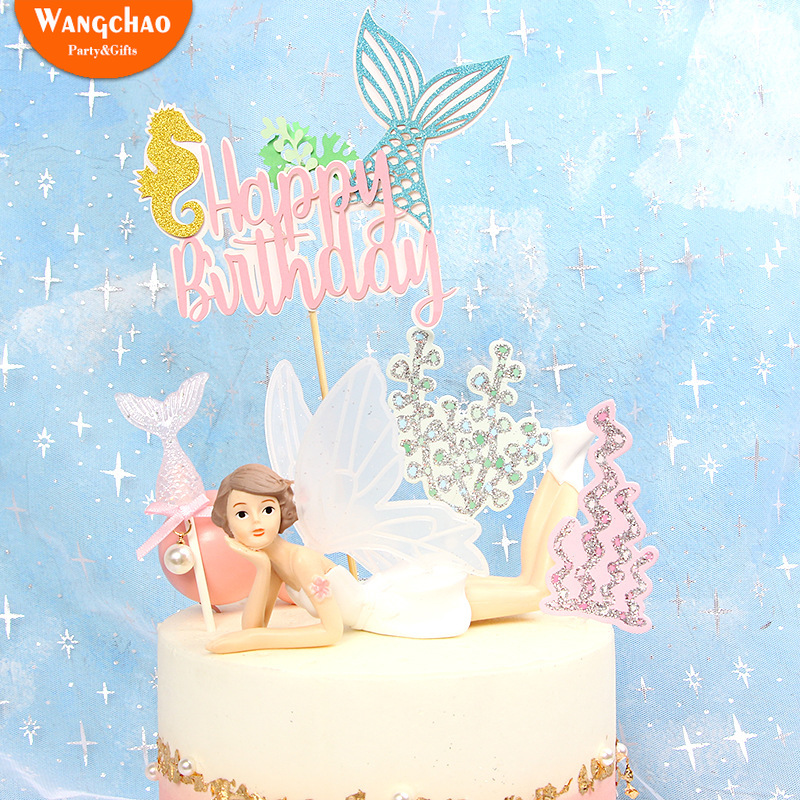 Sensational Mermaid Tail Theme Happy Birthday Cake Topper Beauty Fish Tail Birthday Cards Printable Trancafe Filternl