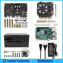 Raspberry Pi 4 Modell B + X835 3,5 zoll SATA HDD Lagerung Bord + X735 Power Management Board + DC 12V Power Adapter + Metall Fall