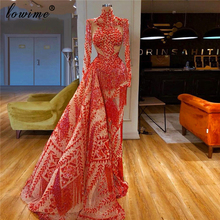 イスラム教徒レッドフォーマルイブニングドレスロングハイネックページェントウエディングドレス女性パーティーナイトクチュール vestidos デフィエスタ · デ · ノーチェ