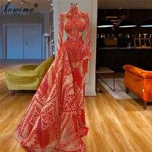 Muzułmańskie czerwone formalne suknie wieczorowe długie wysokie szyi korowód suknie balowe kobieta nocna impreza Couture Vestidos De Fiesta De Noche