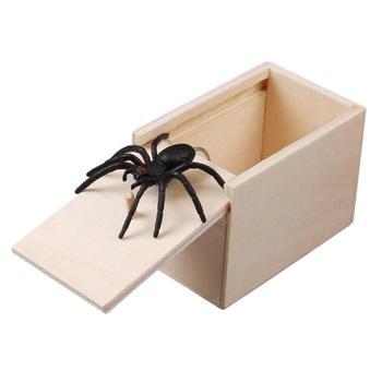 Prank Toy Surprise Box Animal Spider Wooden Box Practical Fun Joke Mischievous Toy Gift Scared Whole Screaming Toy image