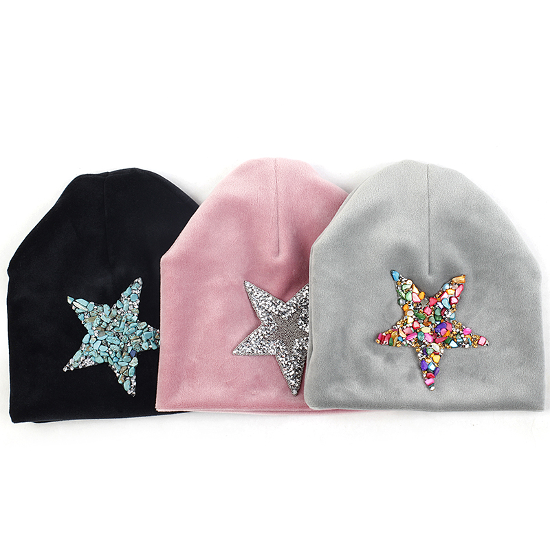 Newborn Autumn Winter Soft Thicker Velvet Baby Boys Girls Hats Beanie Infant Cute Rhinestones Star Hats Cap Gift