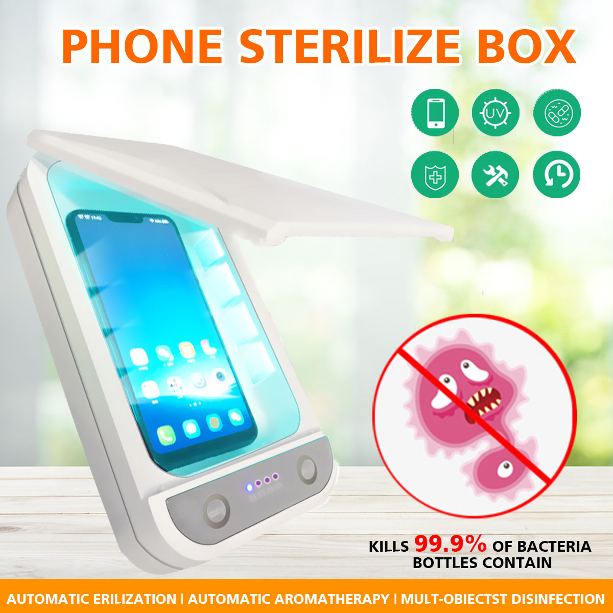 5V Double UV Phone Sterilizer Box Jewelry Phones Cleaner Personal Sanitizer Disinfection Box Phone Box With Aromatherapy
