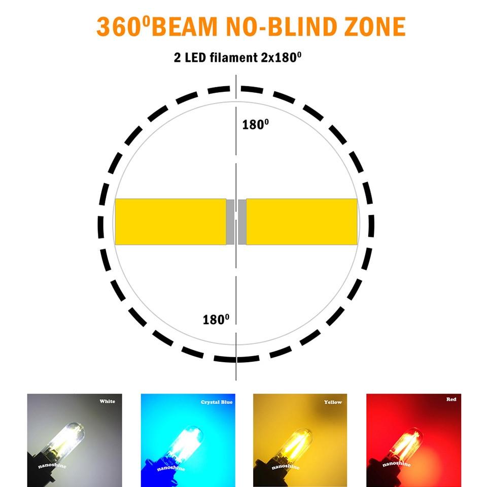 Newest W5W led T10 cob glass car light Led filament auto automobiles reading dome bulb lamp DRL car styling 12v 2