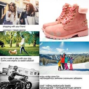 Image 2 - Fujin femmes bottes dhiver plate forme rose femmes bottes lacer décontracté bottines bottines rondes femmes chaussures hiver neige bottes cheville