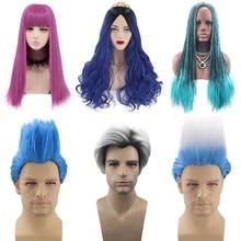 Filme descendentes 2 evie/mal/uma peruca cosplay adulto mulheres homens fantasia festa de halloween peruca de cabelo sintético c35826ad