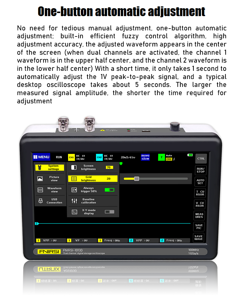 FNIRSI-1013D Dual Channel Digital Oscilloscope with 100M Bandwidth 1GS Sampling Rate