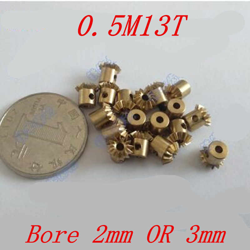 2 Pcs 1:1 Messing Bevel Gear 0.5M13T 0.5 Modulus 13 Tanden Met Binnenste Gat 2 Mm Of 3 Mm 90 graden Drive Commutatie Gears