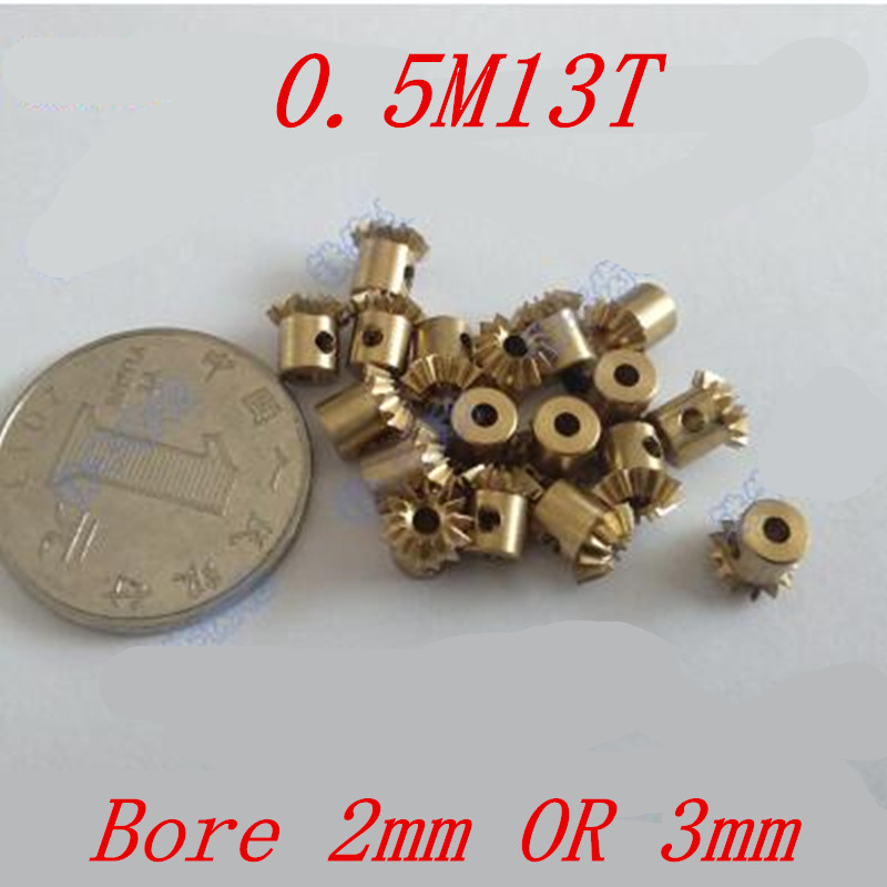2pcs 1:1 Brass Bevel Gear 0.5M13T  0.5 Modulus 13 Teeth With Inner Hole 2mm Or 3mm  90 Degree Drive Commutation Gears