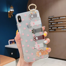 2019 for iPhone 7 8 plus 7 6 6s plus Printed Case with Ring Holder for iPhone X XS XR XS MAX Transparent Case with Wrist Strap