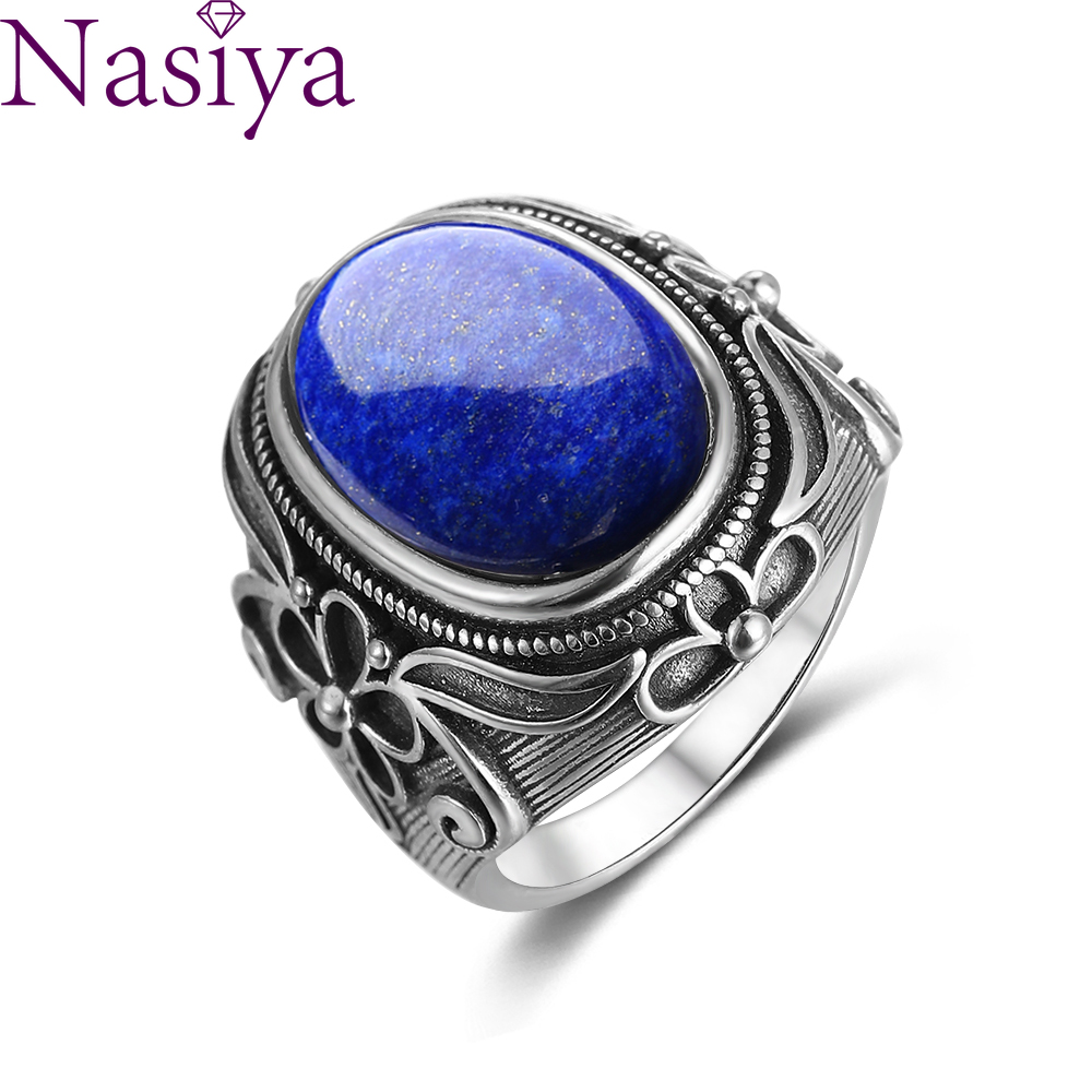Nasiya Luxury Vintage  Sterling Silver Ring 11x17MM Big Oval Lapis Lazuli Rings For Men Women Fine Jewelry Party Anniversary