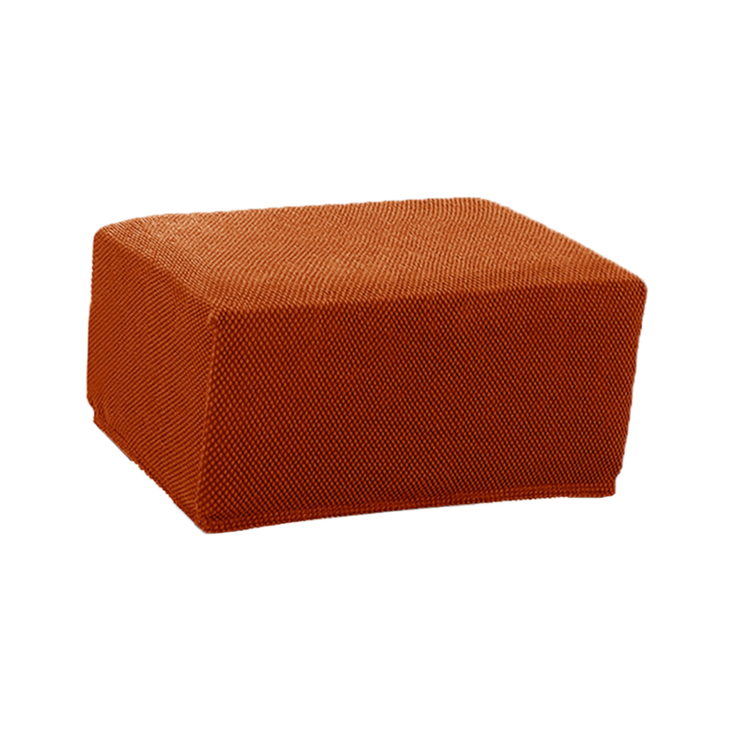 Stretch Jacquard Storage Ottoman Cover Footstool Slipcover Protector
