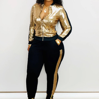 Fashion Sexy Sequined Two Piece Sets Zipper Long Sleeve Autumn Jacket Top+Sport Pants Plus Size Suits Women Casual Club Outfits