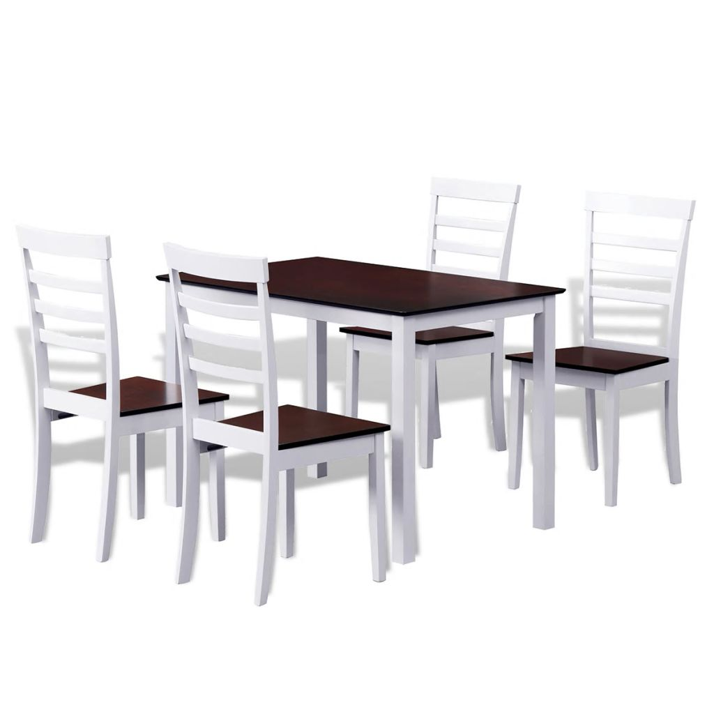 Modern Dining Table With 4 Chairs White And Brown Solid Wood Kitchen Table Chair Made Of Rubber Tree Mdf Elegant Durable Buy At The Price Of 255 01 In Aliexpress Com Imall Com