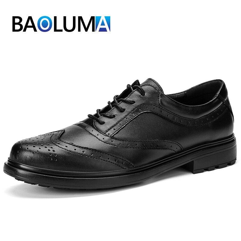 Fashion Men's Formal Shoes Genuine Leather Men's Dress Shoes Comfortable Breathable Men Business Shoes Classic Men Wedding Shoes