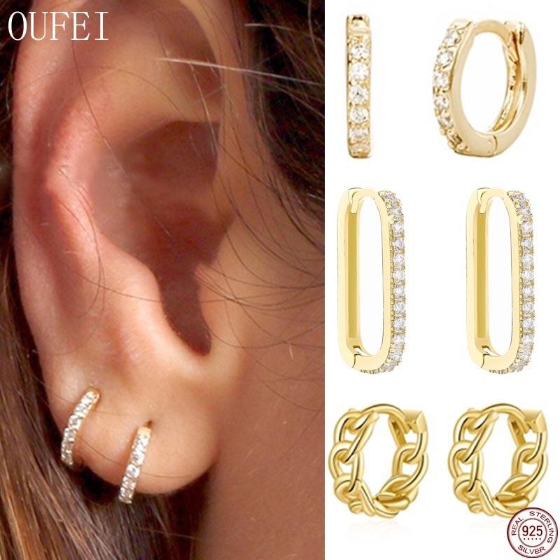 Hoop Small Earrings 100% 925 Sterling Silver Simple Hoop Crystal Earrings For Women Jewelry Delicate Round Lovely Girl' Earring