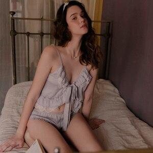 Image 1 - קיץ תחרה פיג מה הלבשת לנשים ספגטי רצועת פיג Cami למעלה + מכנסיים פיג מה סטי Nightwear תחרה בגדי בית