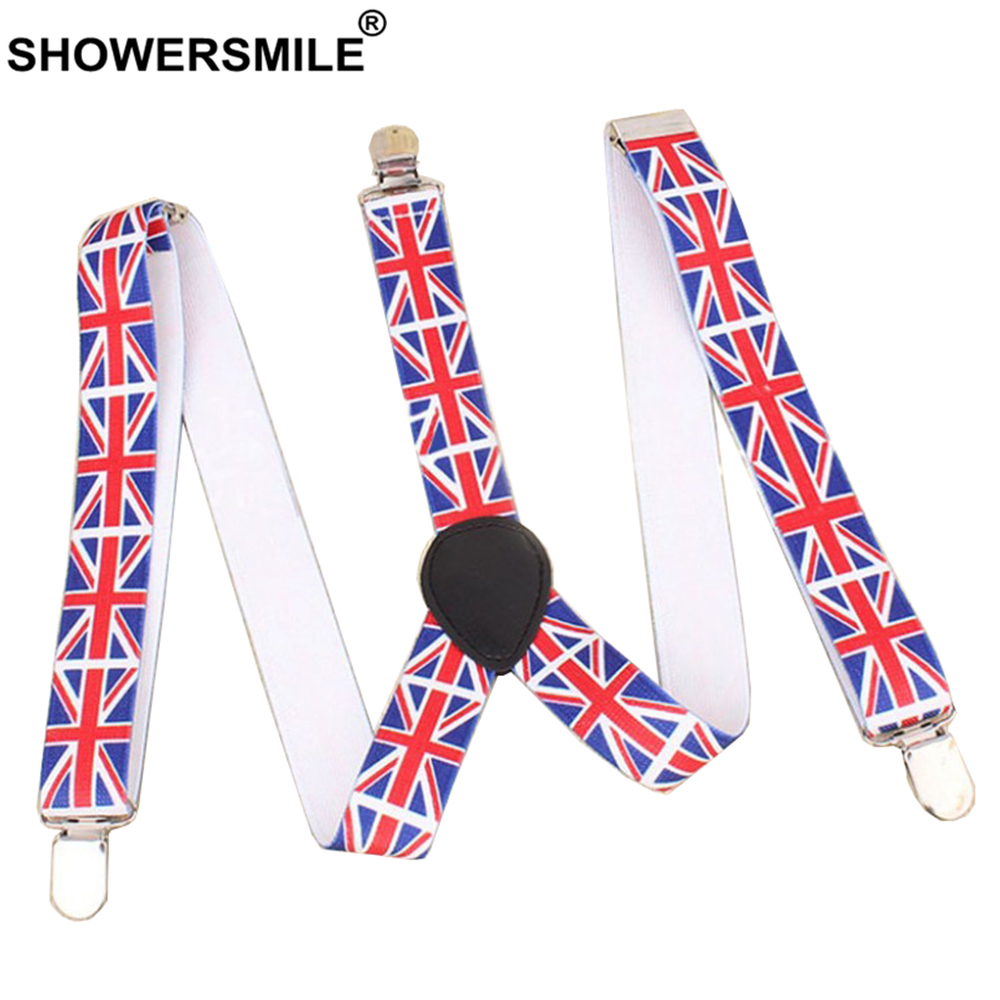 SHOWERSMILE Men Suspenders British Flag Male Pants Strap Fashion 3 Clips Y Back Elastic Adjustable Big Kids Braces Suspenders
