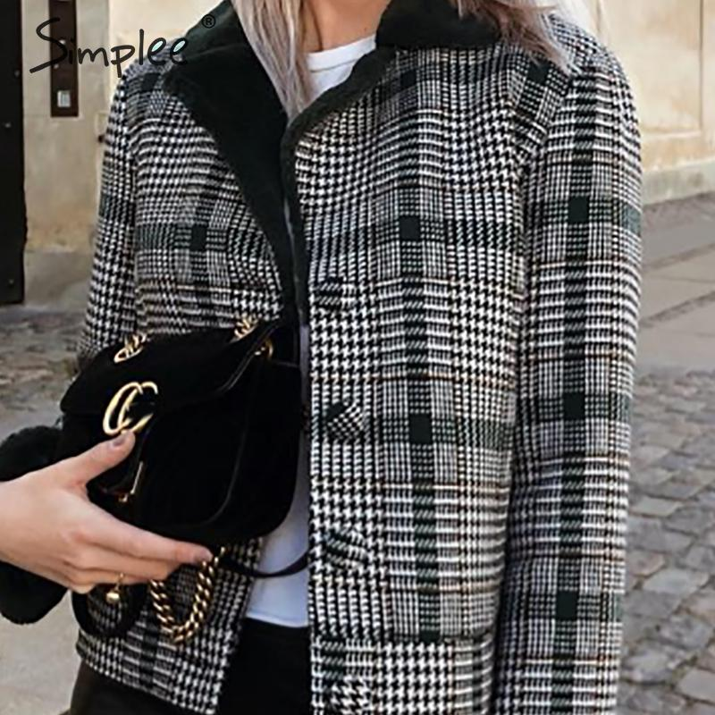 Image 3 - Simplee Faux fur patchwork plaid coat women Autumn winter buttons  furry female short jackets Chic streetwear ladies warm coatsFaux Fur