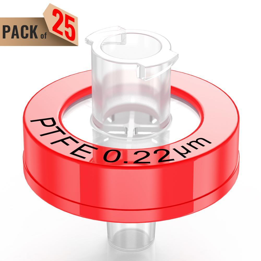 Syringe Filters,PTFE Membrane 0.22μm Pore Size,13mm Diameter,25 Pcs Individually Packed By Ks-Tek