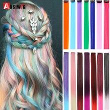 Aosi longa reta colorido destaque extensões de cabelo sintético clipe em uma peça arco-íris streak fios de cabelo rosa para mulher menina