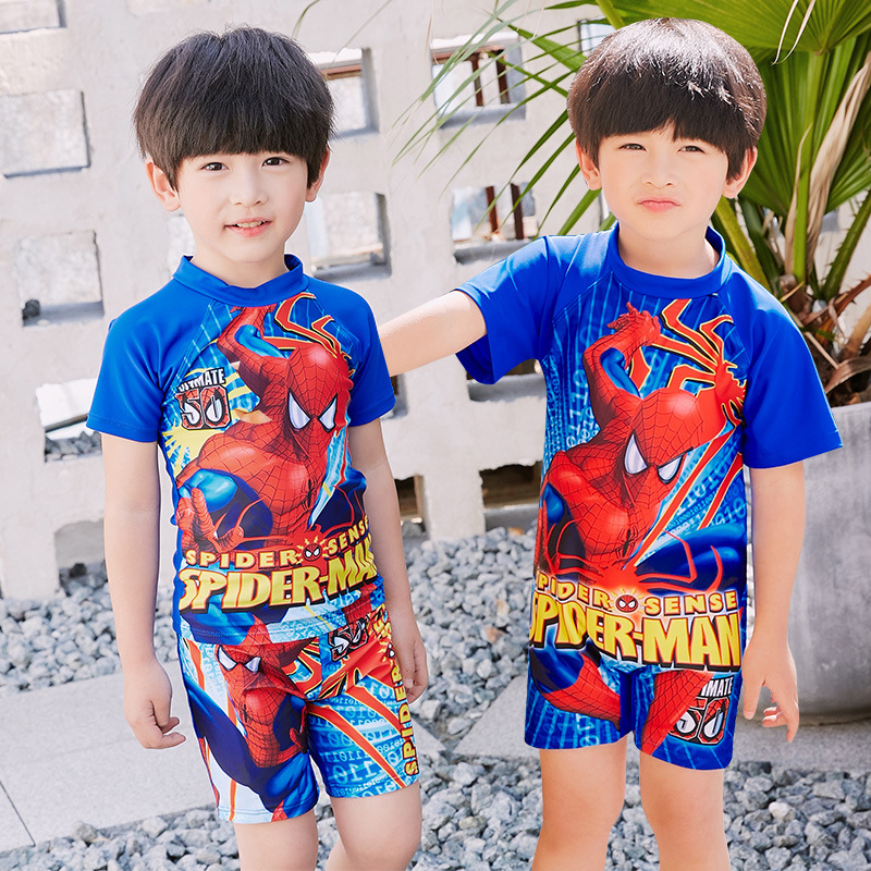 BOY'S Spider-Man One-piece Split Type KID'S Swimwear Children Sun-resistant Cartoon Children Baby Swimming Trunks Tour Bathing S