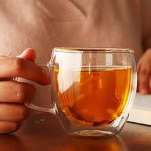 Новинка 1 шт. 100-400 мл двухслойная термостойкая прозрачная стеклянная чашка офисный кофейный чайный виски вино кружка с кружка для пива с ручкой