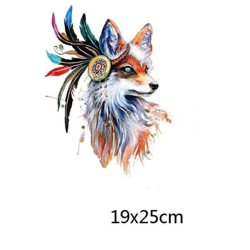 Kleurrijke Dier Thermo Stickers Op Kleding Fox Leeuw Ijzer Op Transfer Patches Voor Kleding Warmte-overdracht Afdrukken Heat Stickers