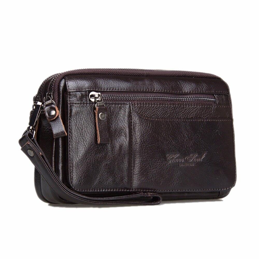 Fashion Men Genuine Leather Clutch Bags Business Cowhide Wallets Skin Mobile Phone Case Long Purse Pouch Male Zipper Handy Bag