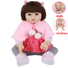 48cm Lifelike Newborn Girl Baby Dolls Full Body Silicone Vinyl /Cloth Body Reborn Babies Dolls Realistic Children Toys