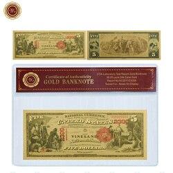 WR Америка 5 долларов цветная Золотая фольга Банкнота с ПВХ Coa рамка USD поддельные деньги Банкноты уникальные сувенирные подарки Прямая поста...