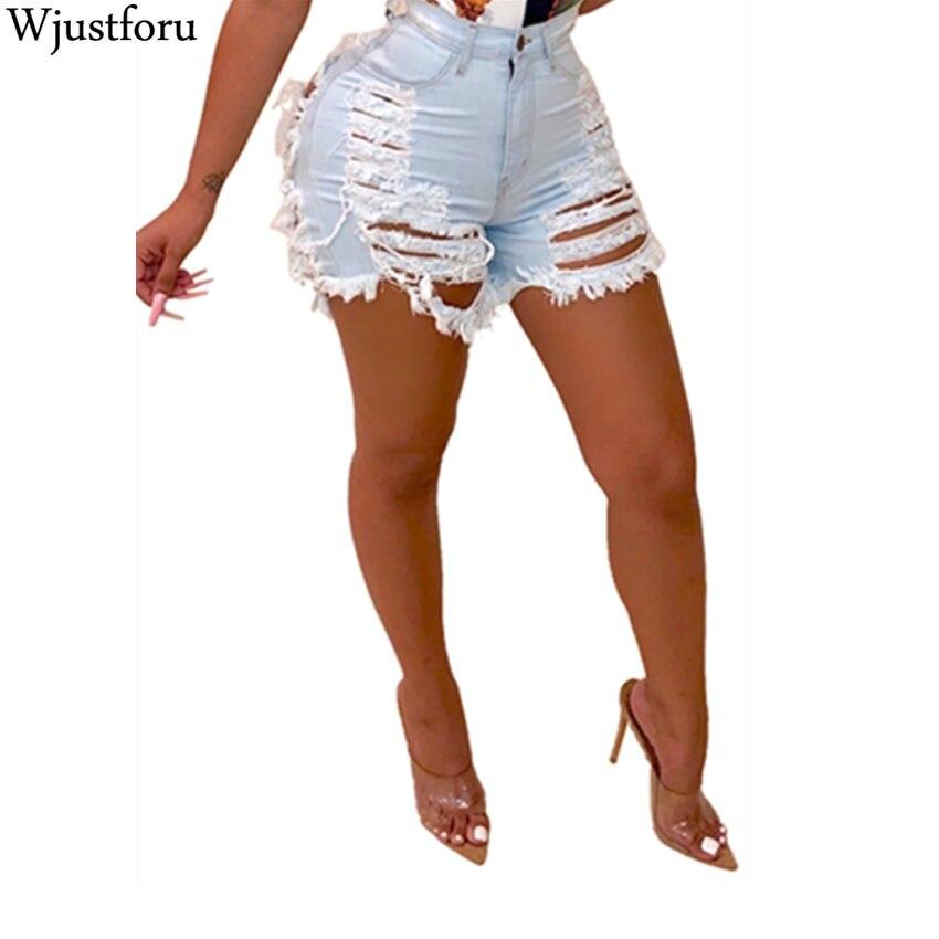 Wjustforu Fashion Ripped Denim Shorts Femme Bodycon Hole Club Short Jeans Women Leg-openings Plus Size Sexy Short Jeans Vestidos