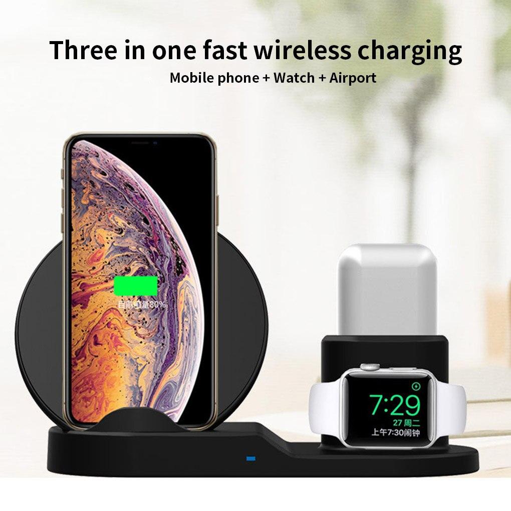 3 em 1 carregador rápido sem fio do telefone móvel para o iphone fone de ouvido relógio doca carregamento sem fio suporte estação
