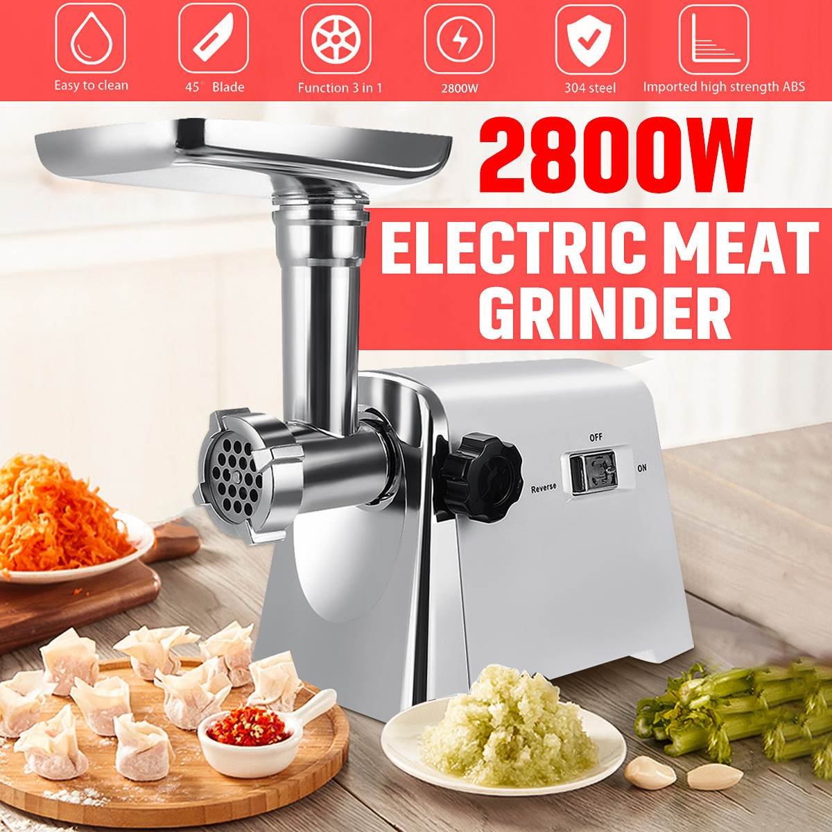 2800W Electric Meat Grinder Home Sausage Maker Meats Mincer Food Grinding Mincing Cutter Machine For Household Kitchen Tools